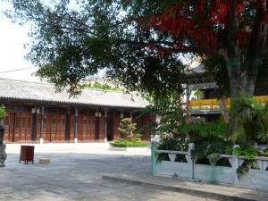 Daoist temple - the red ribbons in the tree are wishes