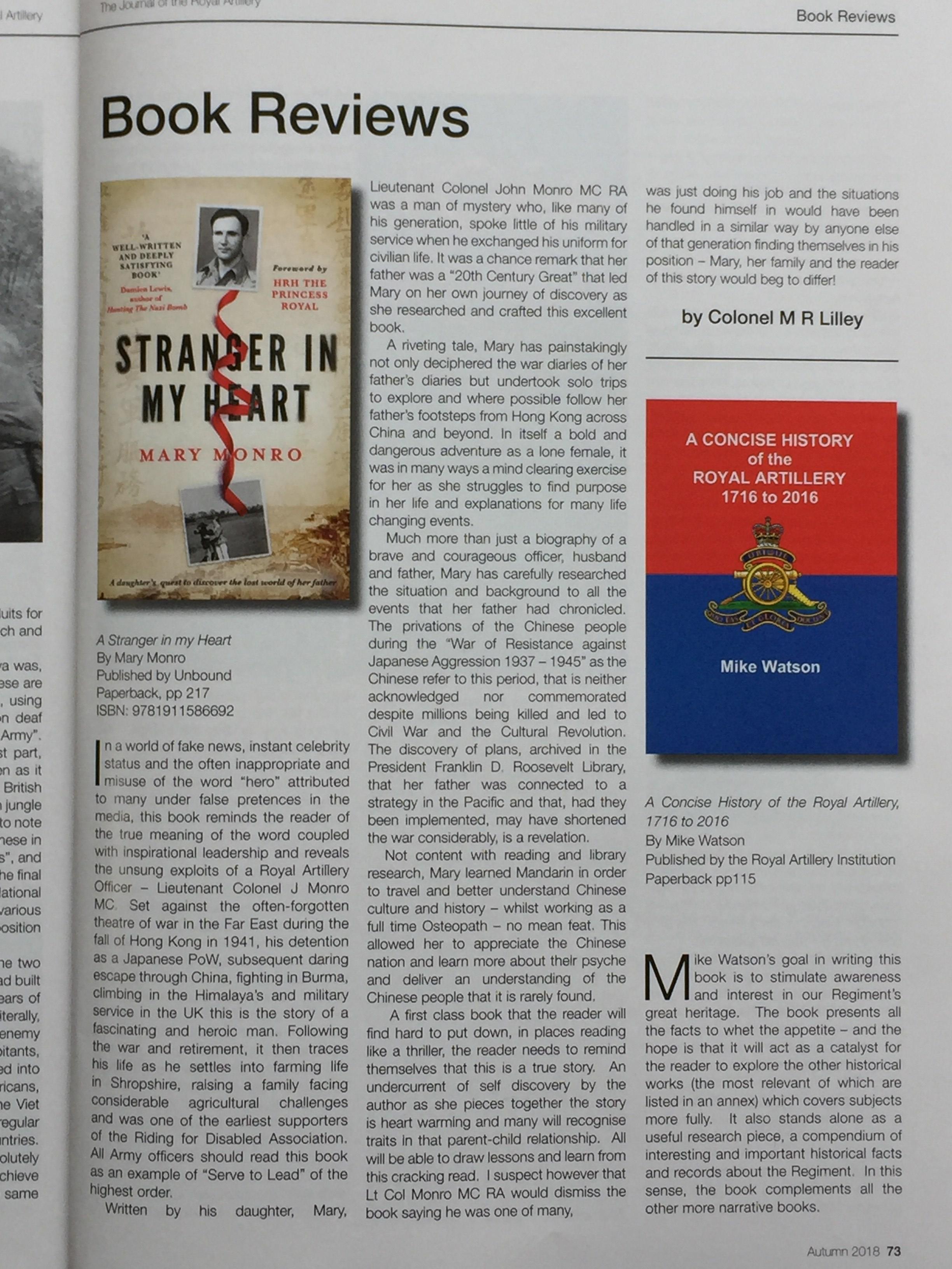 Journal Royal Artillery reviews Stranger In My Heart