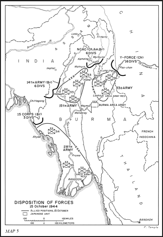 Burma, October 1944, disposition of forces